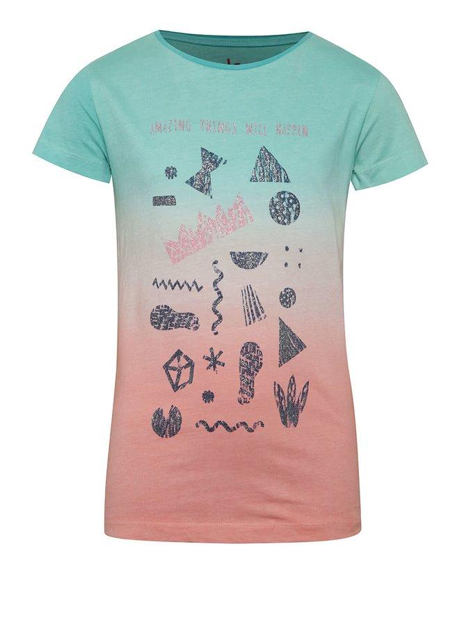 Tricou verde & roz 5.10.15. din bumbac pentru fete