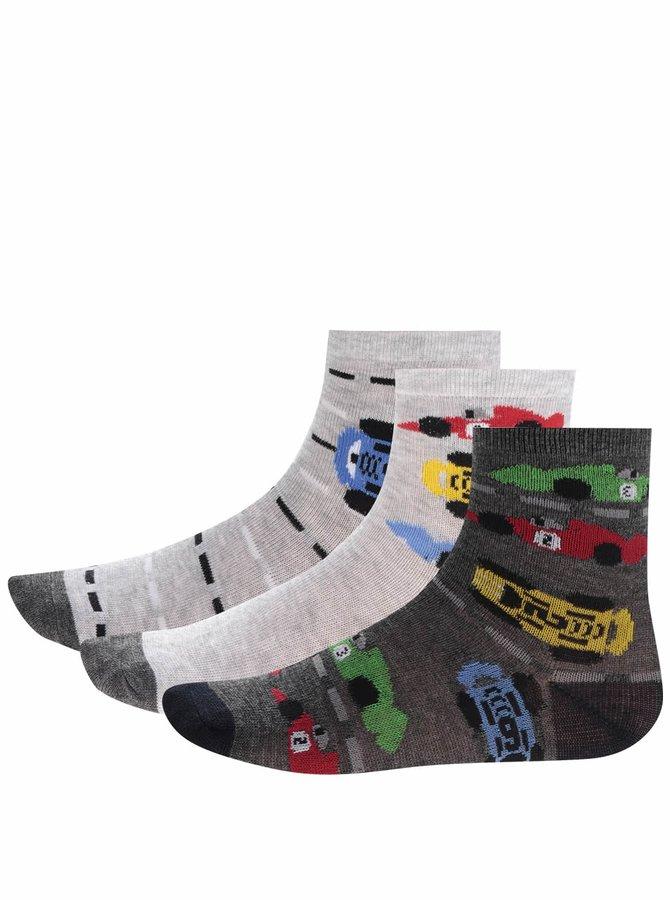 Set de 3 perechi de șosete gri 5.10.15 cu model pentru băieți