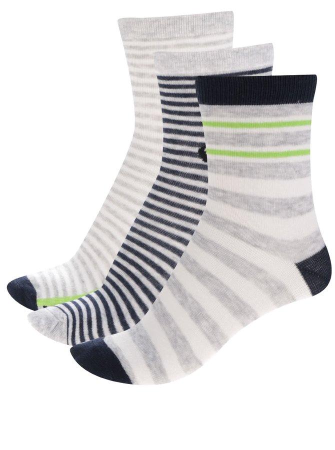 Sada tří párů klučičích pruhovaných ponožek v šedé a modré barvě 5.10.15.