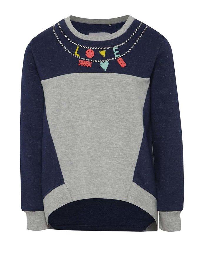 Bluză gri melanj & albastru 5.10.15. cu aplicații pentru fete