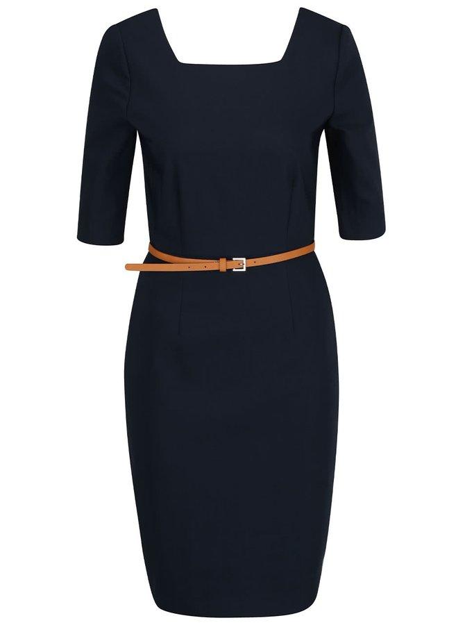 Tmavě modré pouzdrové šaty s páskem  VERO MODA Roos