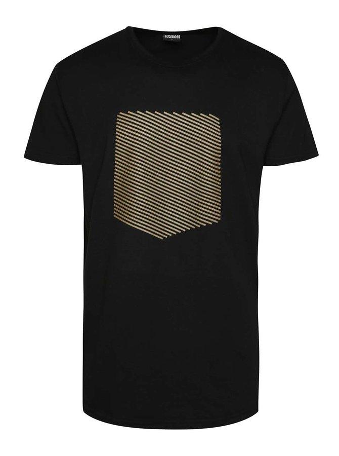Černé unisex triko s potiskem ve zlaté barvě Primeros Safeguard