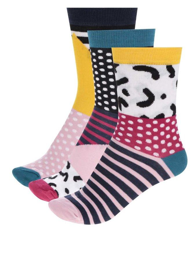 Sada tří dámských ponožek v černé a růžové barvě Oddsocks Adele
