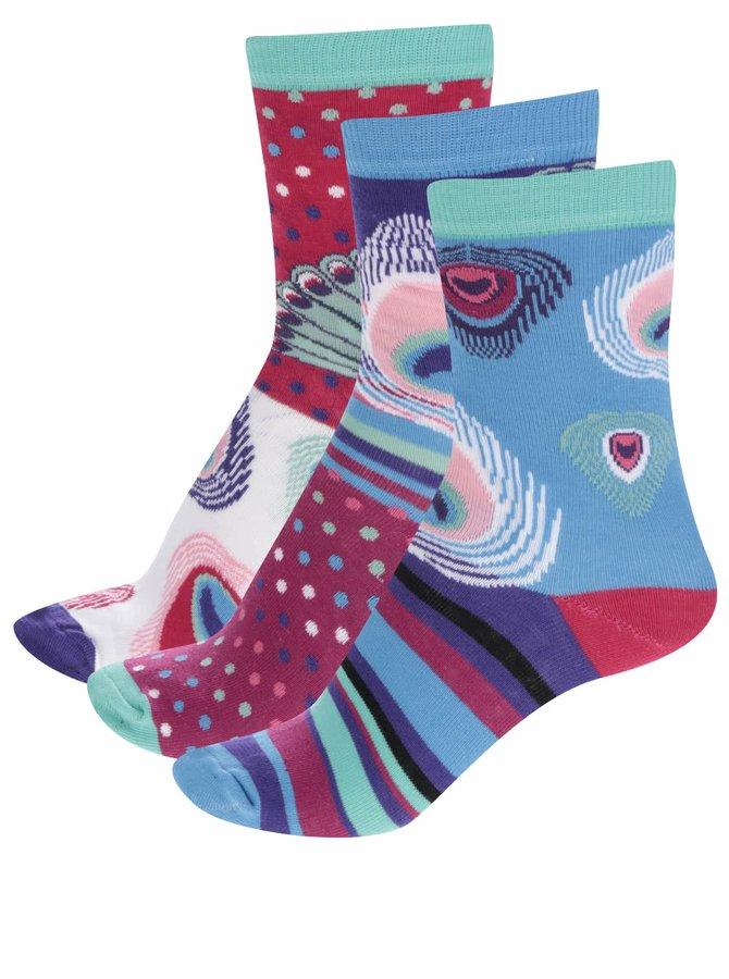 Sada tří dámských ponožek v modré a červené barvě Oddsocks Stacey