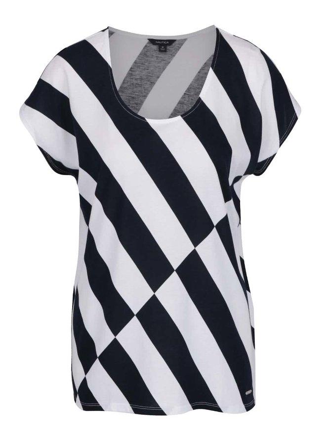 Modro-bílé dámské volné vzorované tričko Nautica