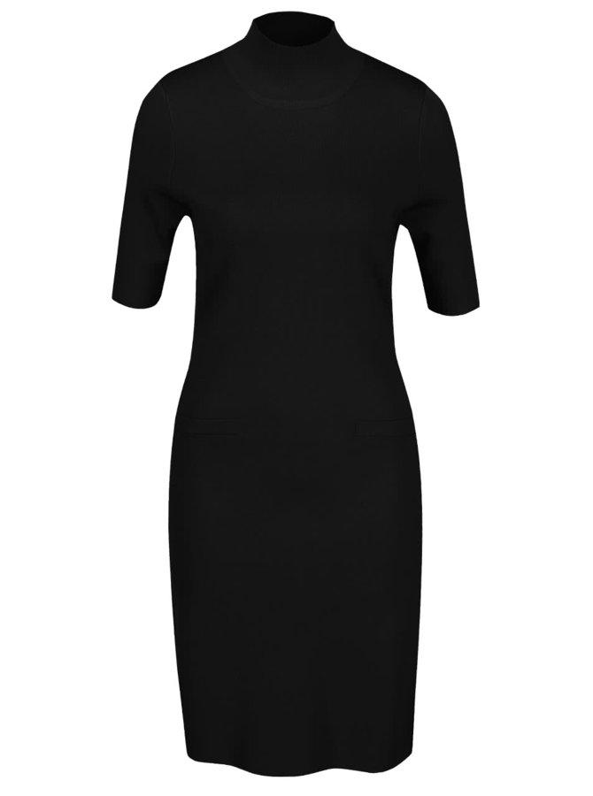 Rochie neagră Pietro Filipi cu guler înalt