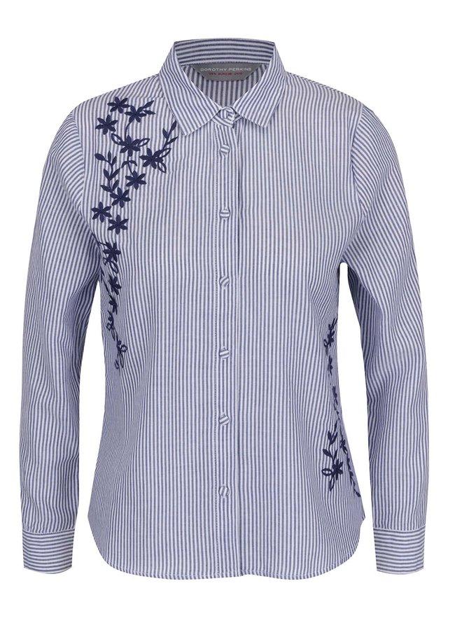 Modro-bílá pruhovaná košile s výšivkami a dlouhým rukávem Dorothy Perkins