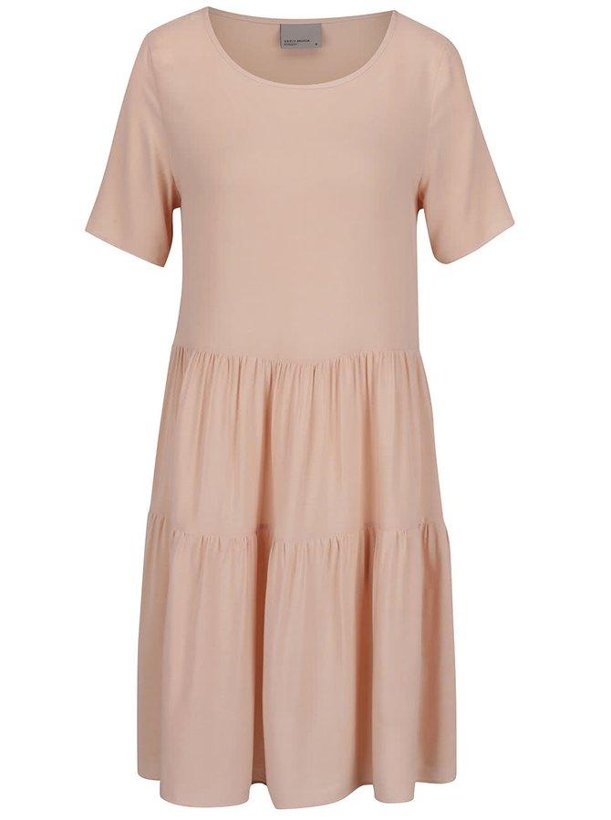 Starorůžové šaty s krátkým rukávem VERO MODA Girlie