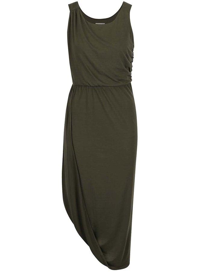 Khaki asymetrické šaty s řasením na bocích VILA Amalie