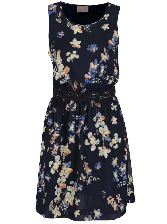 Tmavě modré šaty s květovaným potiskem VERO MODA Lina