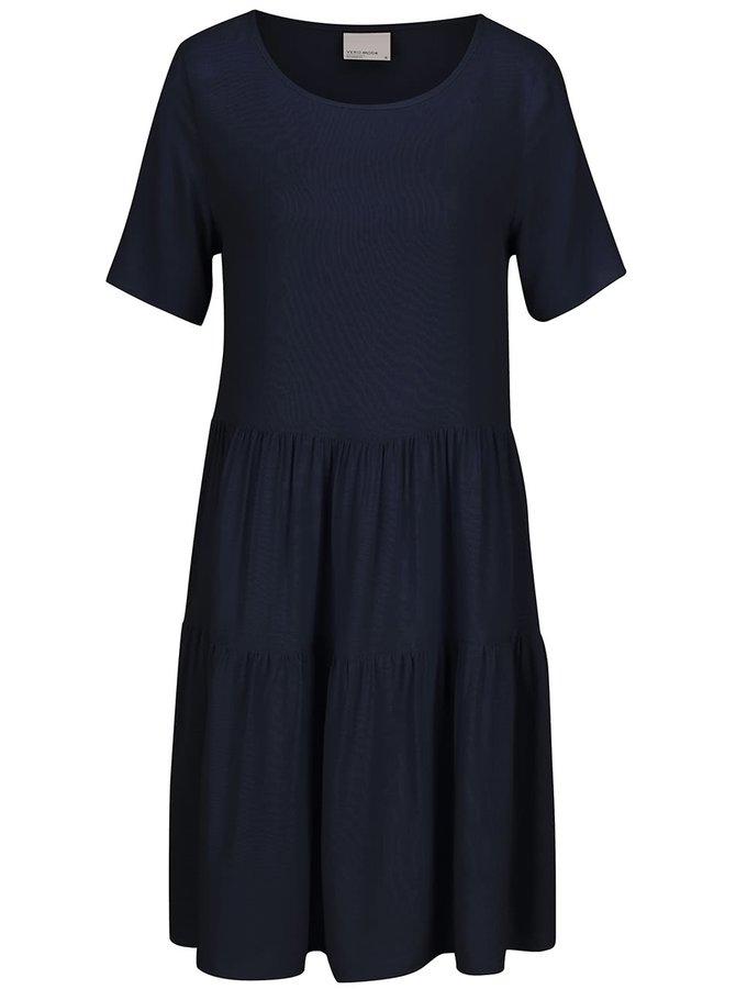 Tmavě modré šaty s krátkým rukávem VERO MODA Girlie