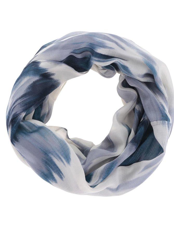 Šedo-modrý vzorovaný dutý šátek Pieces Sukki
