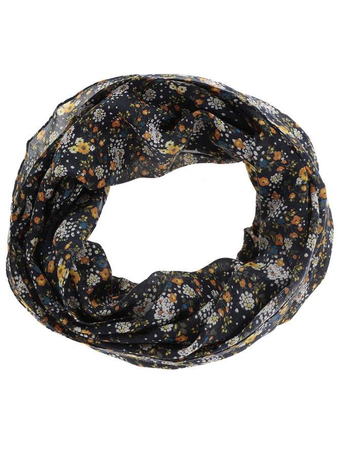 Žluto-modrý květovaný dutý šátek Pieces Sussy