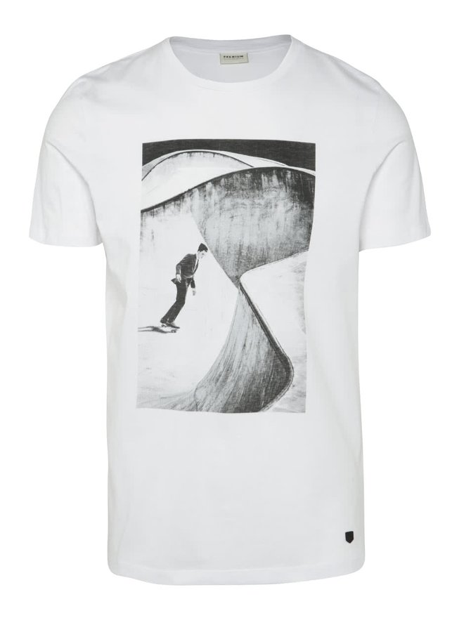 Tricou alb Jack & Jones Gil cu print