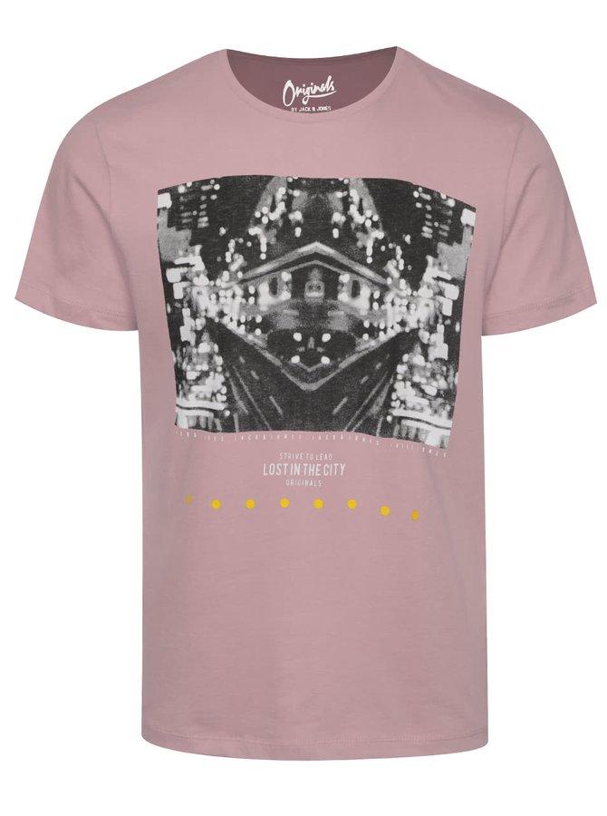 Růžové triko s potiskem Jack & Jones Blast Tokyo