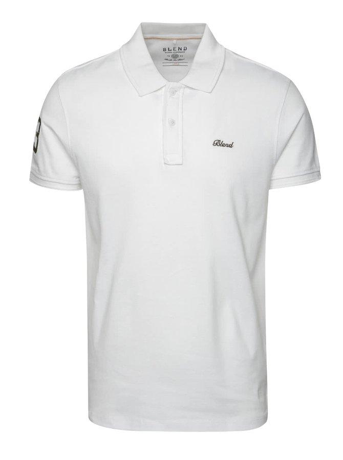 Bílé polo triko s nášivkou na rameni Blend
