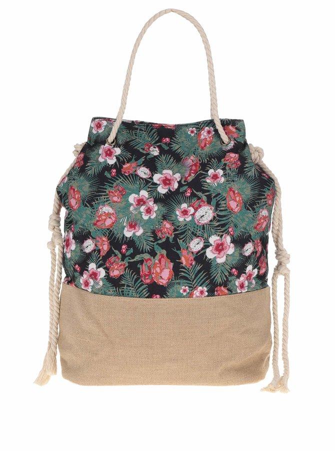 Hnědo-zelená květovaná kabelka s příměsí lnu Pieces Lainey