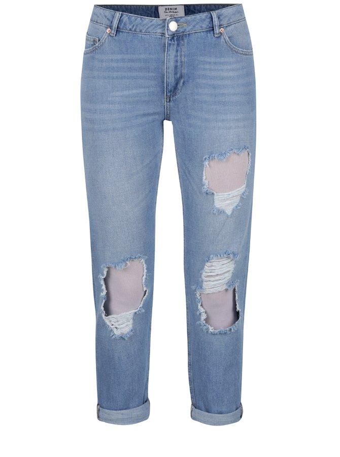 Světle modré džíny s potrhaným efektem  Miss Selfridge