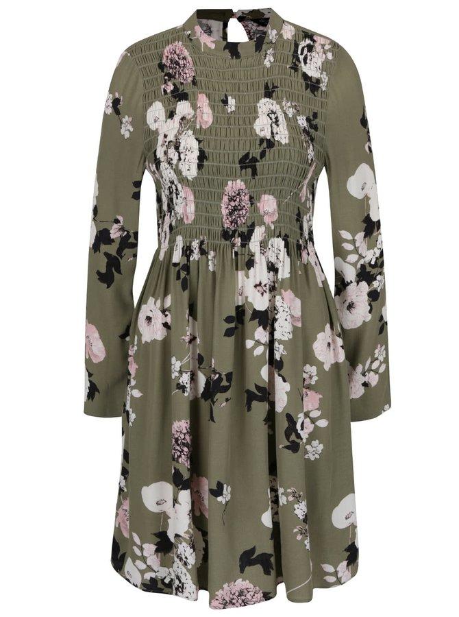 Khaki květované šaty s dlouhým rukávem Miss Selfridge