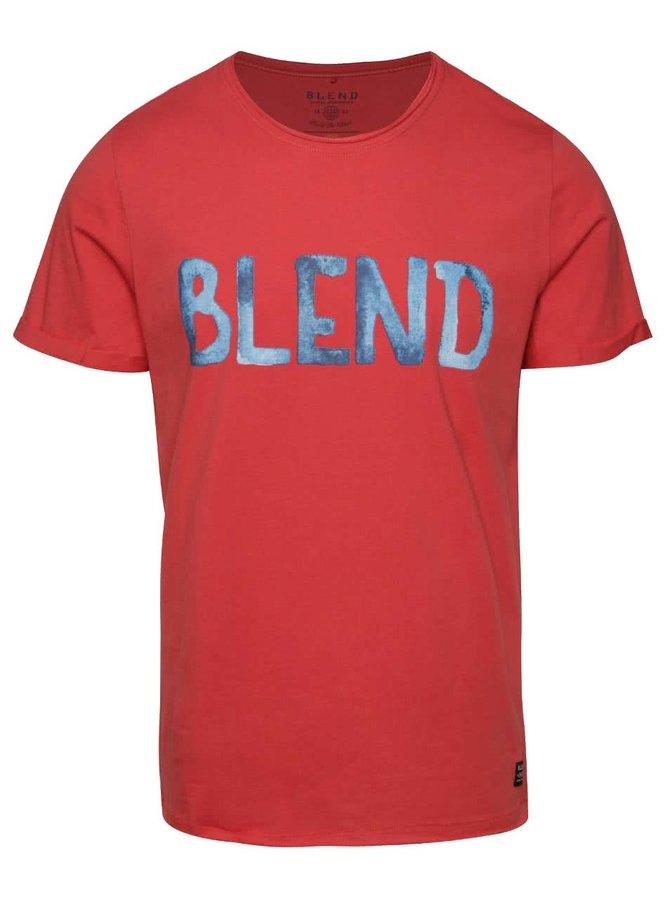 Tricou roșu Blend cu logo print albastru