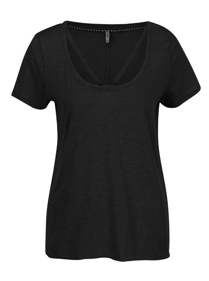 Černé tričko s pásky v dekoltu ONLY Leah