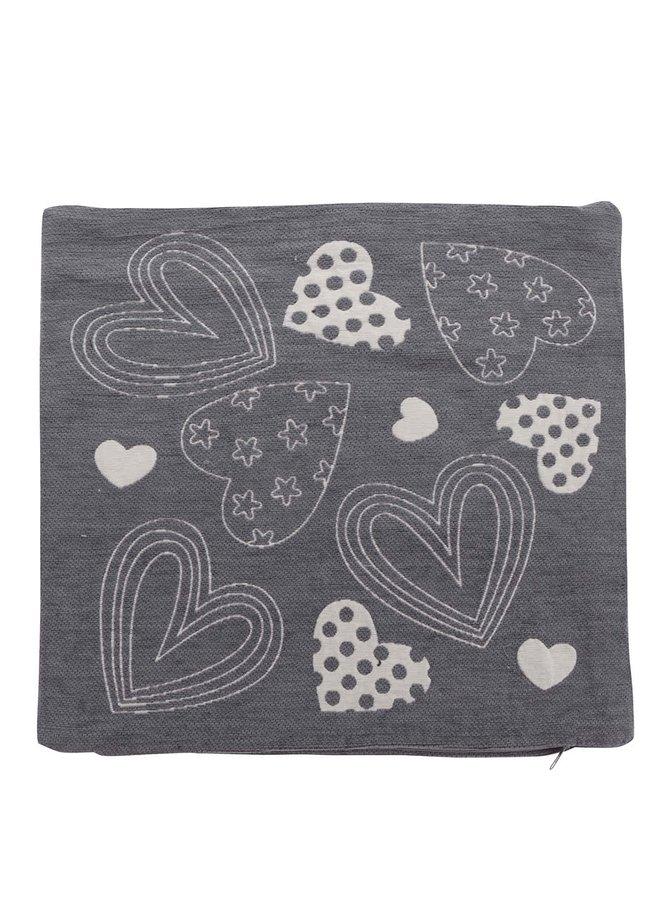 Tmavě šedý návlek na polštářek s motivem srdcí Dakls