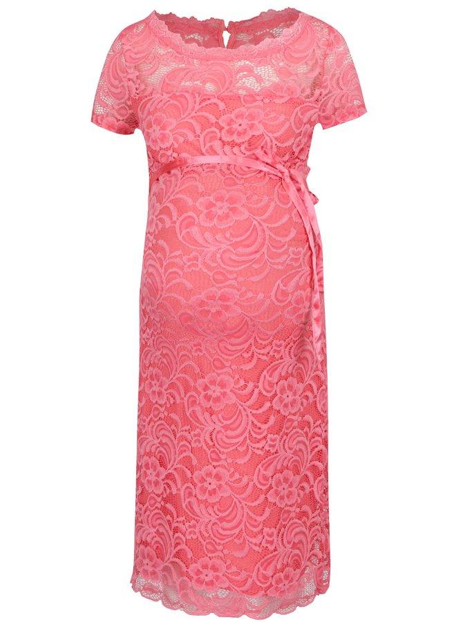 Růžové těhotenské krajkové šaty Mama.licious Mivana