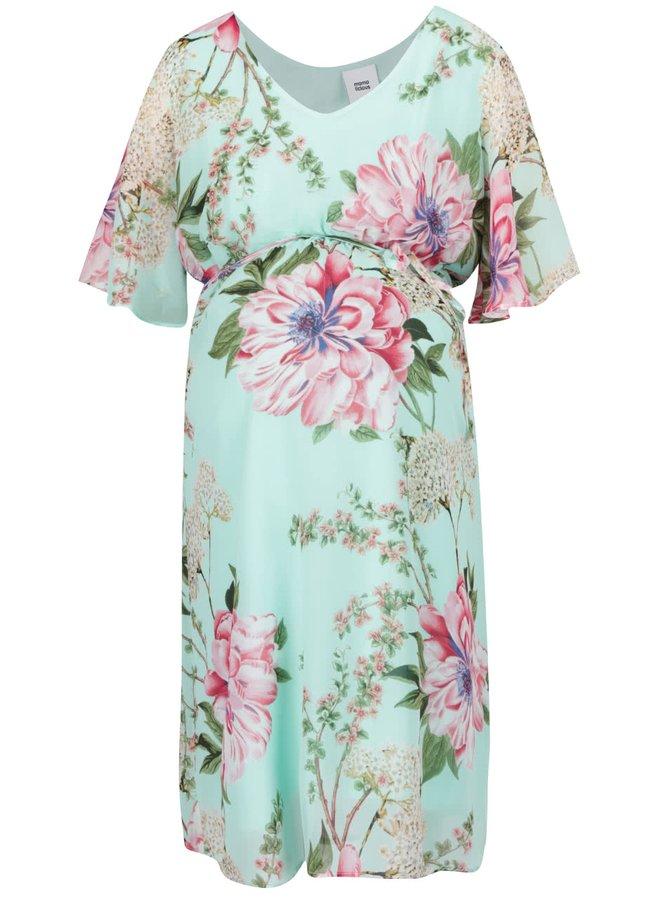 Světle zelené květované těhotenské šaty Mama.licious Luisiana