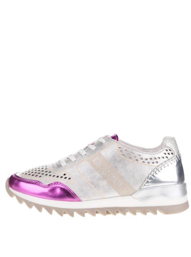 Pantofi sport argintii pentru femei bugatti Farah cu detalii roz metalizate