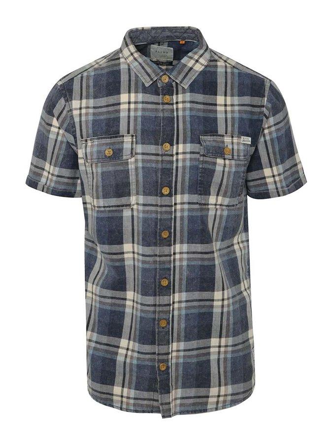 Krémovo-modrá kostkovaná košile s krátkým rukávem Blend