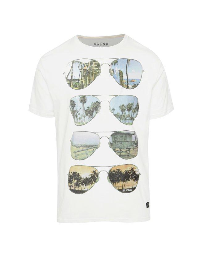 Bílé triko s potiskem brýlí Blend