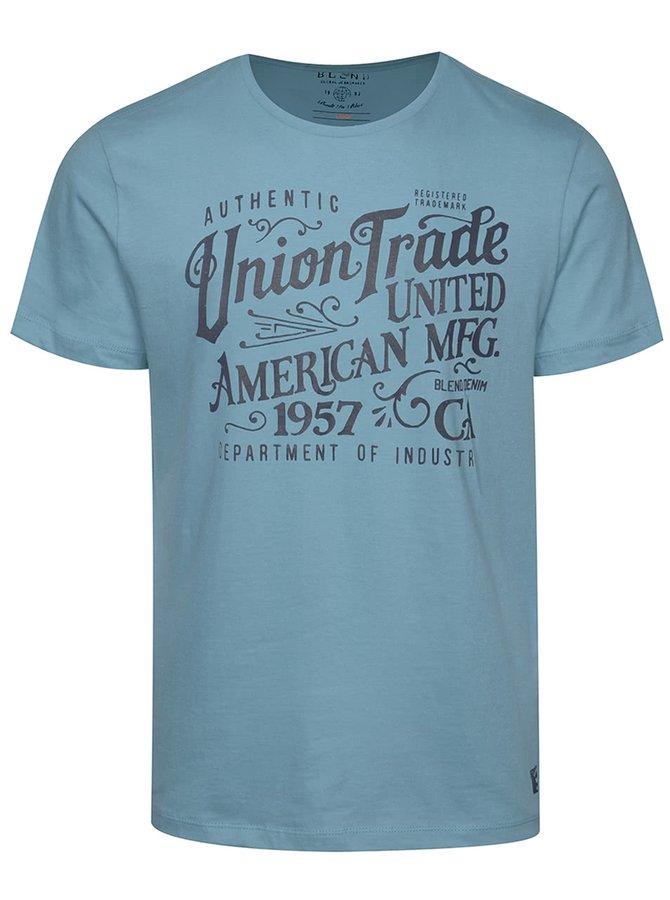 Světle modré triko s potiskem a krátkým rukávem Blend