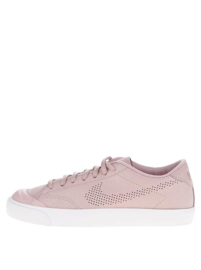 Světle růžové dámské kožené tenisky s bílou podrážkou Nike All Court Premium