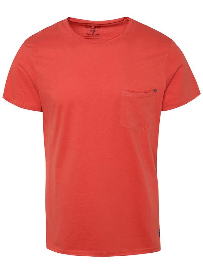 Červené triko s kapsou Blend