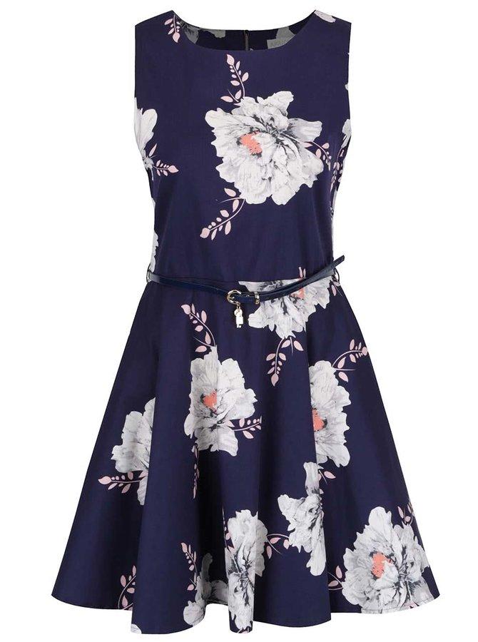 Tmavě modré květované šaty s páskem a kolovou sukní Apricot