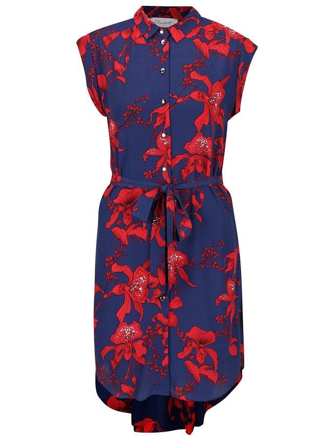 Červeno-modré květované košilové šaty se zavazováním Closet