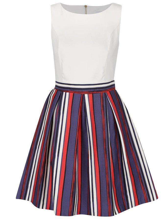 Modro-krémové šaty s pruhovanou sukní Closet
