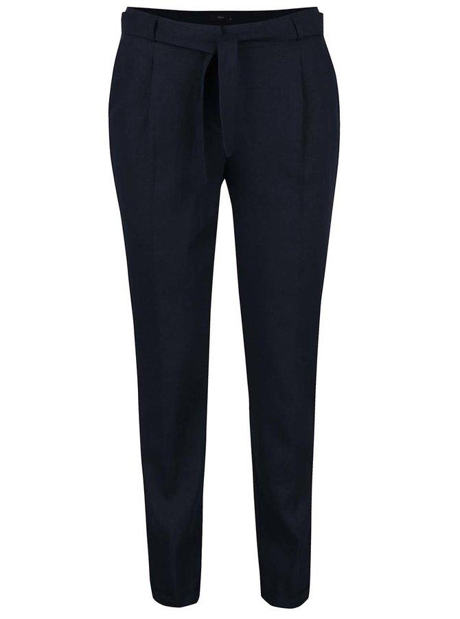 Tmavě modré lněné dámské kalhoty M&Co