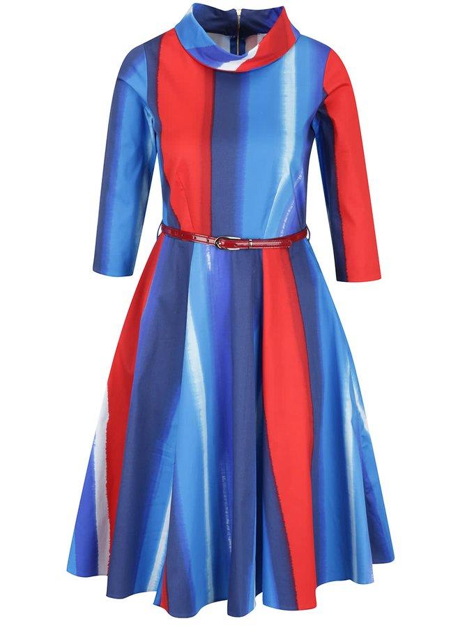 Rochie albastru&roșu Closet cu mâneci 3/4 și curea