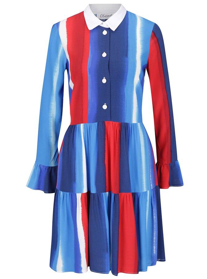 Rochie multicoloră Closet cu model în dungi și volane