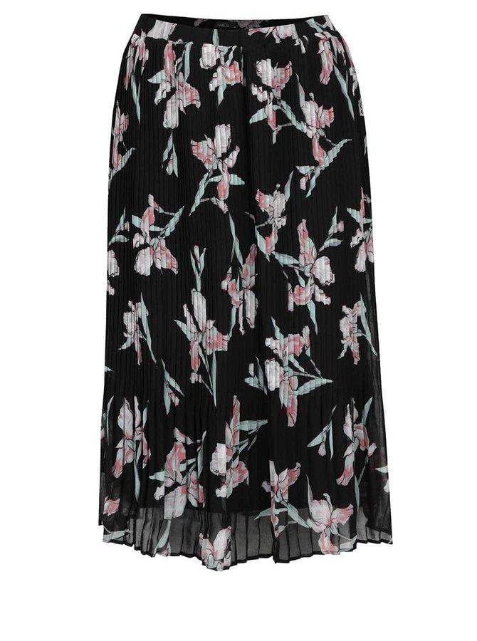 Černá květovaná plisovaná midi sukně M&Co