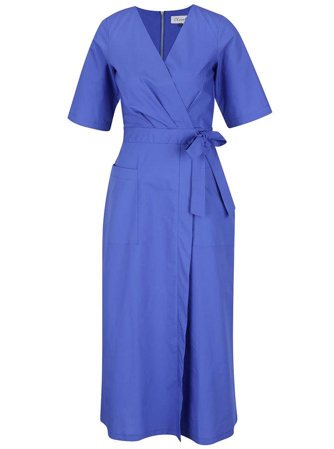 Modré šaty s překládaným výstřihem a sukní Closet