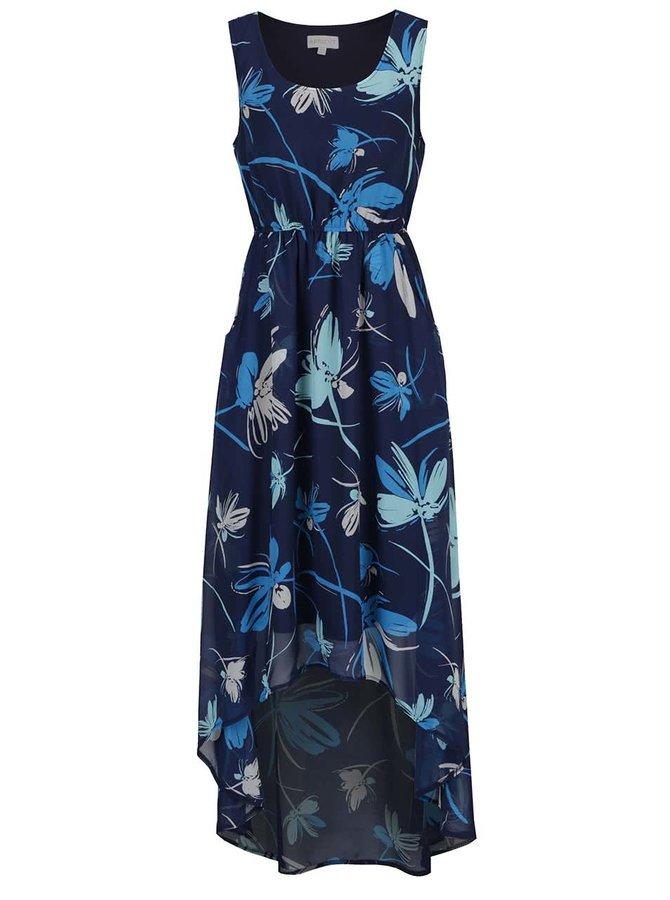 Tmavě modré květované šaty s prodlouženým zadním dílem Apricot