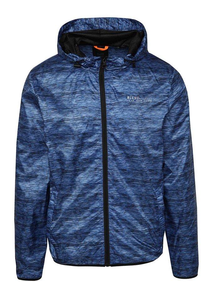 Jachetă albastru tigrat Blend cu glugă