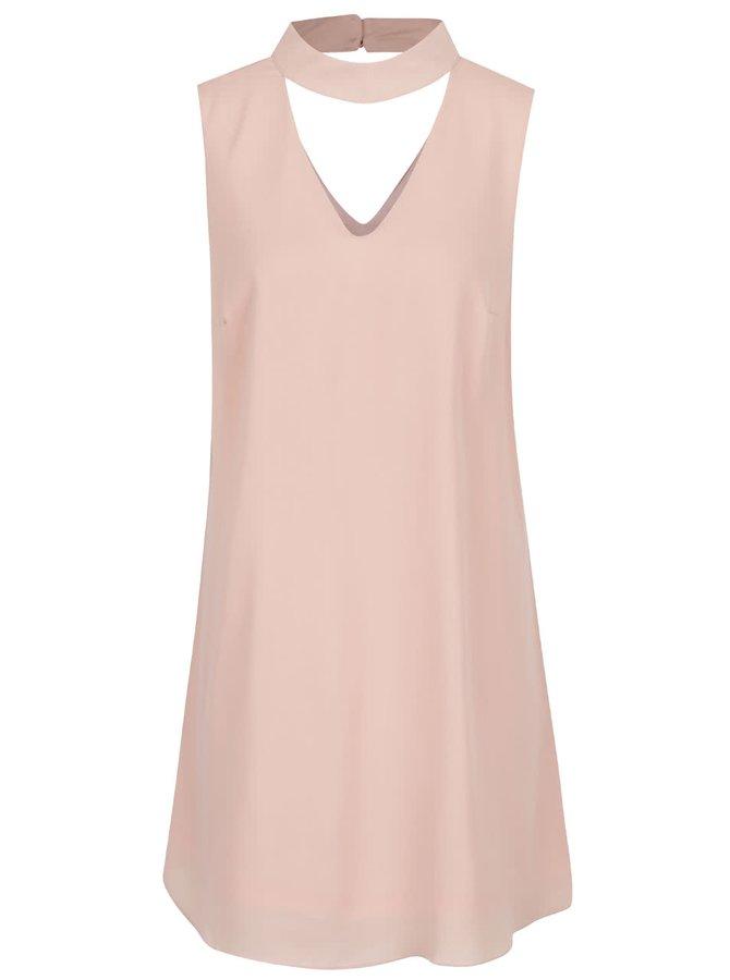 Světle růžové volné šaty s chokerem Apricot