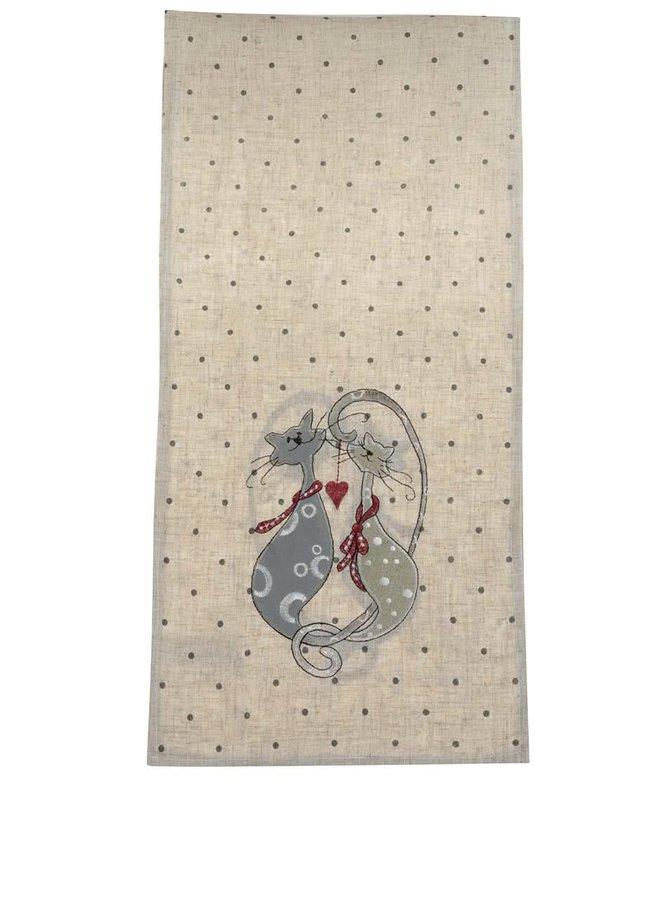 Béžový běhoun s motivem koček Dakls
