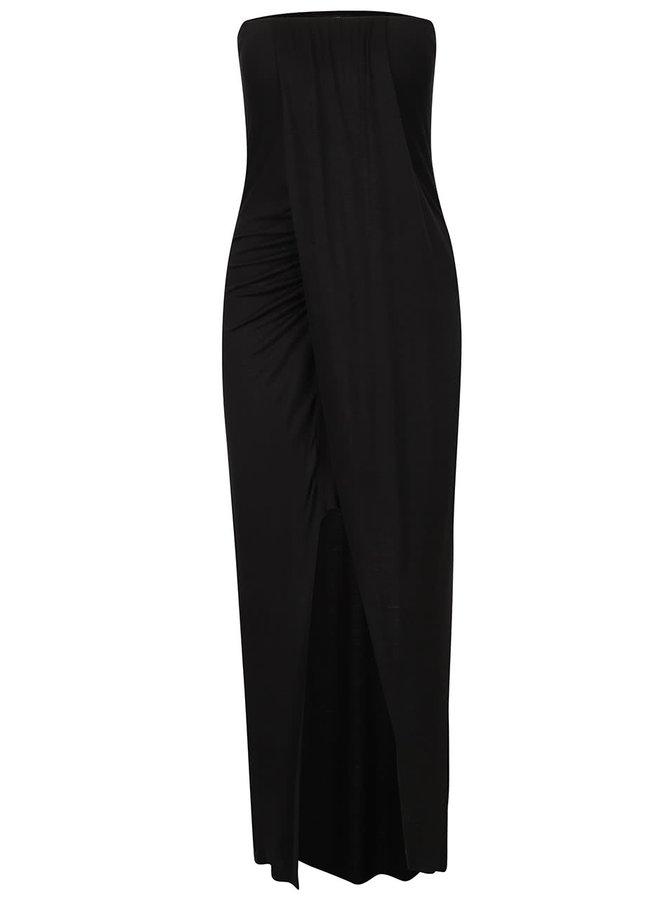 Černé šaty s řasením a rozparkem Haily's Marly