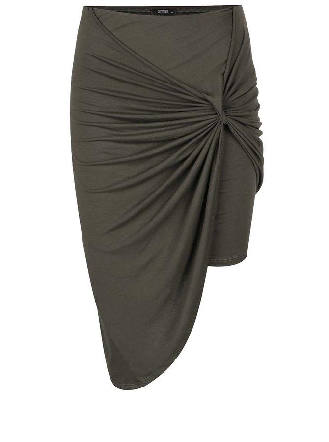 Khaki asymetrická sukně s nařasením Haily's Reni