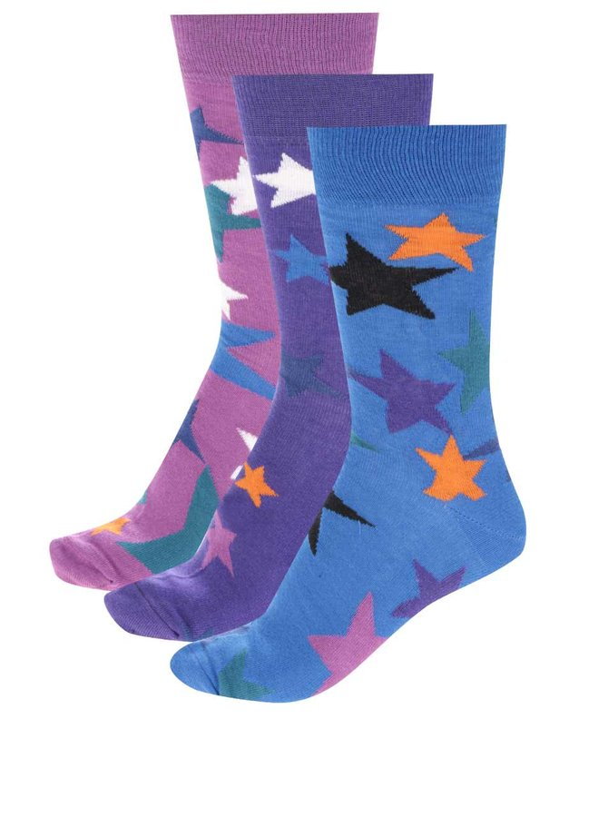 Sada tří pánských ponožek s motivy hvězd Oddsocks Evan