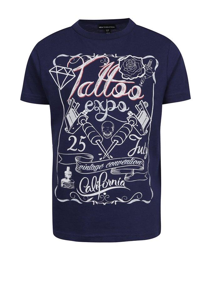 Tricou albastru Mix´n Match din bumbac cu print pentru băieți